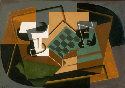 Gris, Juan: Chessboard, Glass and Dish. Fine Art Print/Poster. Sizes: A4/A3/A2/A1 (003115)